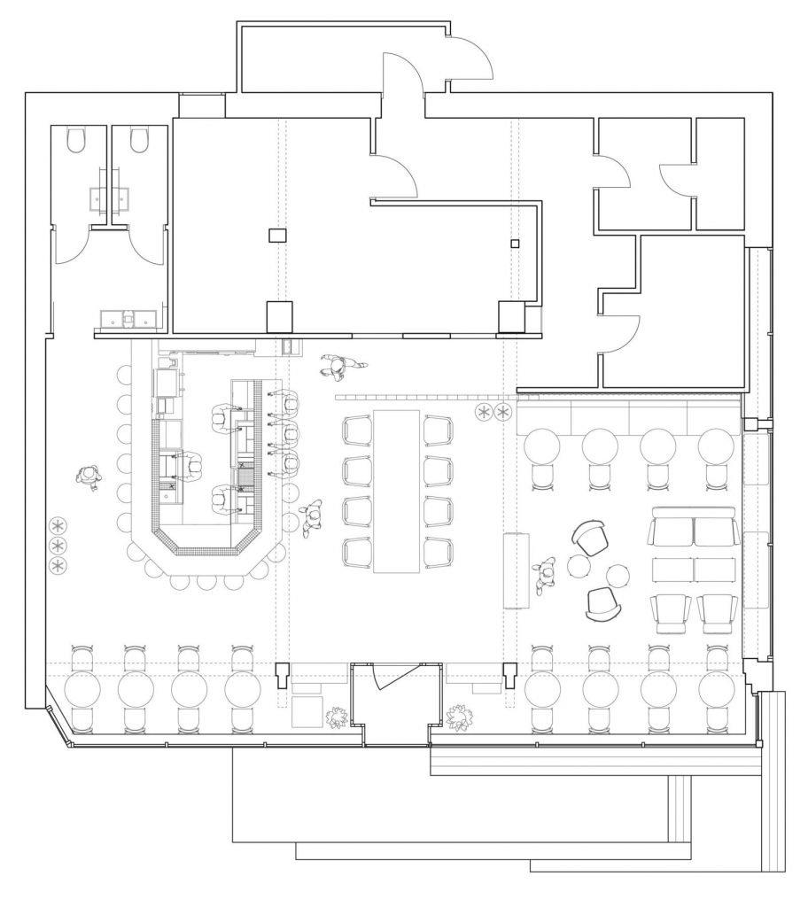 A plan of Cafe Bar