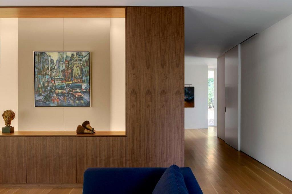 living room walnut wall