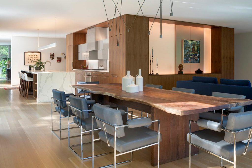 walnut veneer decor living room